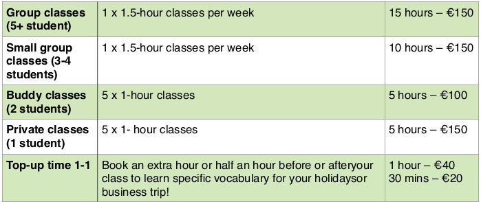Adult Classes price table